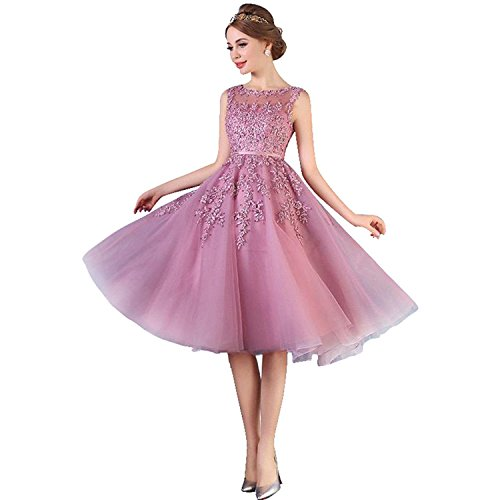 Damen Elegant Applique Tüll Abiballkleid Abendkleid mit Perlen Knilang Altrosa 46
