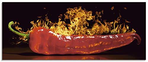 Artland Glasbilder Wandbild Glas Bild 125x50 cm Querformat 3D Modern Küche Essen Gemüse Gewürze Rote Chilli S7PR