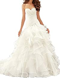 XUYUDITA Vestidos de novia de la sirena de las mujeres Sweetheart volantes vestidos de boda Puffy