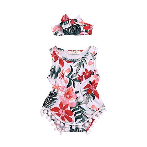Viahwyt Kinder kleidung Summer Infant Baby Boys&Girls Sleeveless Flower Print Romper Bodysuit+Headband(Weiß,100) Summer Infant Süß