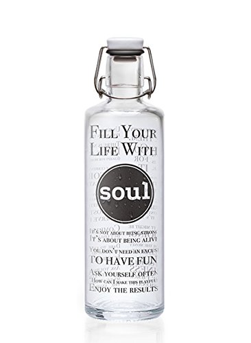 Soulbottles 1,0l Trinkflasche aus Glas Verschiedene Designs, Made in Germany, Vegan, plastikfrei, Glastrinkflasche, Glasflasche (Fill Your Life with Soul)