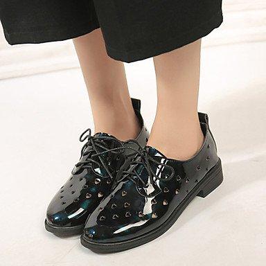 LvYuan Sandalen-Büro Lässig Kleid-Kunstleder-Blockabsatz-Knöchelriemen-Marinenblau Dark Blue