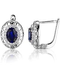 JewelryPalace Pendientes de plata esterlina de 925 mujeres Clip en Oval 1.64ct Creado zafiro azul