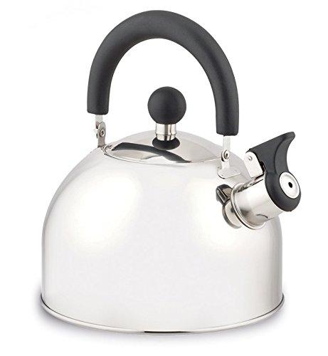 Retro Flötenkessel Edelstahl Optik Wasserkessel Teekessel Wasserkocher Teekocher silber in verschiedenen Größen (2,0 Liter)