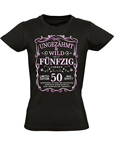 Geburtstags Shirt: Ungezähmt und Wild 50 Jahre - Geburtstags T-Shirt 50. Jahre - Geschenk zum 50. Geburtstag - Jahrgang 1968 - Damen tshirt 50 Geburtstag Mädchen - Geburtstag-Shirt Frau 50 (XL)