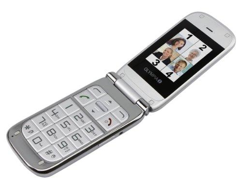 Olympia Großtasten Mobiltelefon,Seniorenhandy,SOS-Knopf,inkl. Ladeschale,Modell Becco,silber