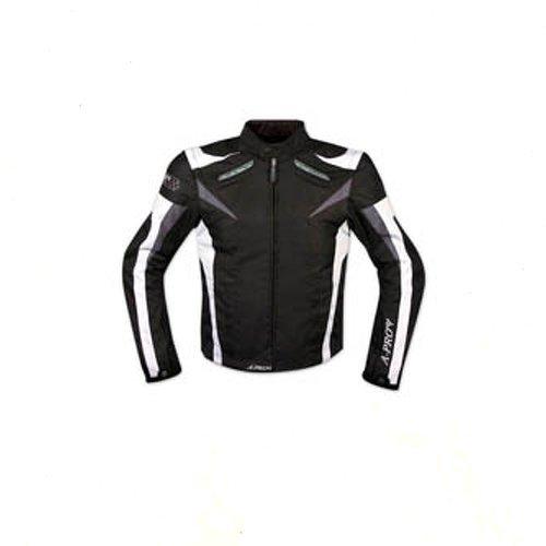 Giacca-Tessuto-Moto-Protezioni-CE-Manica-Staccabile-Gilet-Termico-Bianco-XXL