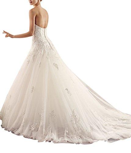 GEORGE BRIDE Edle Jacquard Tuell A-Linie handmade applique Brautkleid Elfenbein