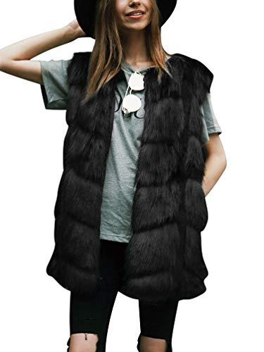 Tookang donna gilet di pelliccia sintetica giacca senza maniche inverno cappotto solido caldo gilet di pelliccia sintetica nero m