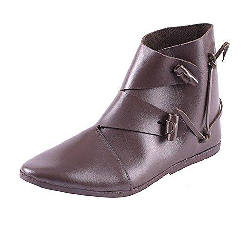 Frühmittelalter Schuhe, Typ Jorvik Größe 40 - 47 Dunkelbraun aus Leder - Mittelalter - LARP - Wikinger (44)