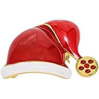 maltonyo17smalto Natale Cappello da Babbo Natale rosso decorazione Natale Spilla Pin