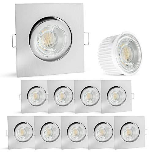 10er Set linovum Decken Einbauleuchte flach nur 36mm - Einbaustrahler in Edelstahl Optik schwenkbar inkl 5W LED Modul warmweiß