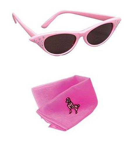 Pink Kostüm Lady - Pink Lady Kostüm Set - Pudel Schal und rosa Brillen