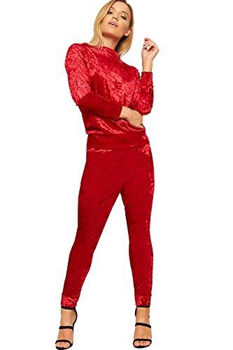 WearAll Damen Gebrochen Velour Lounge Einstellen Damen Top Leggings Tasche Zwilling Einstellen - Rot - 40-42 (Lounge Tag Hose)