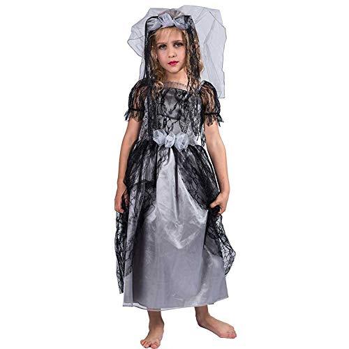Unterwelt Der Kostüm Aus Mädchen - GLXQIJ Grässliche Friedhofsbraut Mädchen Zombies Kostüme Kinder Halloween Trick Treat Kostüm Mit Kopfbedeckung, 7-10 Jahre,Black,S