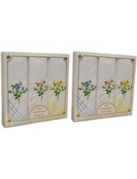 2 paquets de 3 Womens/Mesdames Rose Floral mouchoirs brodés avec des bordures colorées, dans une boîte cadeau