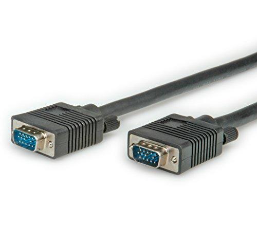 ROLINE VGA Kabel | Monitorkabel mit HD D-Sub Stecker | Zum Anschluss von Laptop • Grafikkarte • Beamer l Schwarz 2m