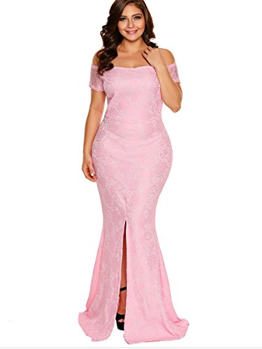 Young 17 Women's Off The Shoulder Lace Fishtail Maxi Dress Evenings Weddings Split Side Evening Formal Dresses Plus Size
