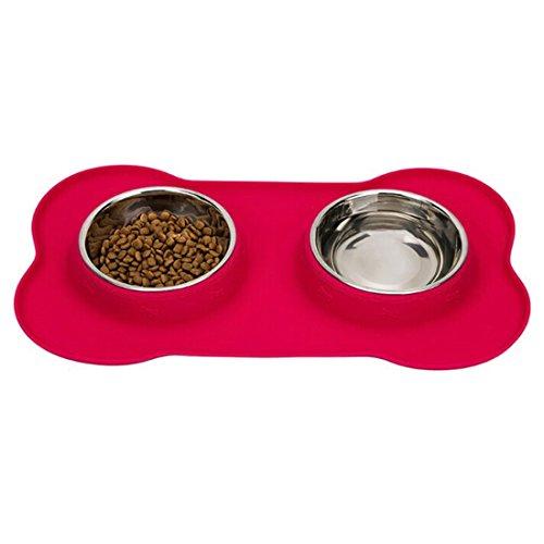 ciotola dell'animale domestico, Hipsteen Forma Bone silicone Pet vassoio in acciaio inox a doppia ciotola del cane Cat Food Feeder - Rosa M - Bone Doppia Bowl