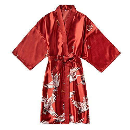 LILIHOT Frauen Pyjama Seide Wie Moderner Kran Reizvoller Nachthemd Bademantel Reizvolle UnterwäSche Damen Kimono Morgenmantel Satin Robe Kurz Bademantel Schlafanzug NachtwäSche Satin Nachthemd -