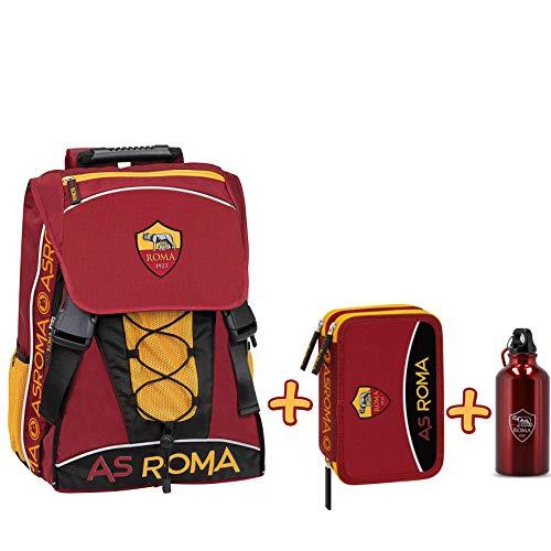Schoolpack Zaino Estensibile A.S. ROMA con borraccia + Astuccio 3 zip completo di cancelleria - scuola 2019-20