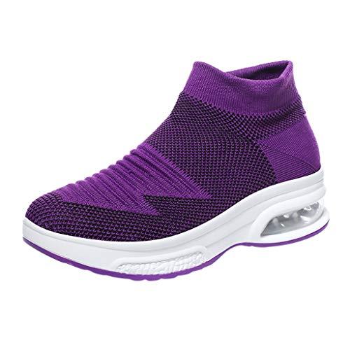 Damen Sneaker Slip On Strick Sportschuhe mit Luftpolster Turnschuhe Plattform Laufschuhe Air Leichte Outdoor Walking Schuhe Keilabsatz Wanderschuhe (EU:35, Lila)