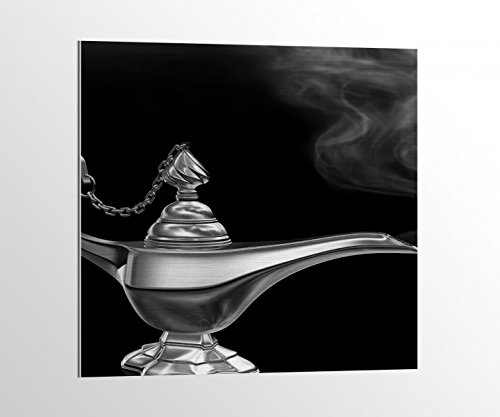 eiß Kinderzimmer Märchen Lampe Dschinn Bild auf Aluminium AluDibond UV Druck gebürstet Wandbild Metall Effekt 16A1290, Alu-Dibond 1:50x50cm ()