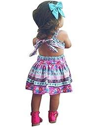 Vestido Niña, K-youth® Verano Bohemia Bowknot Chicas Retro Floral Imprimir Vestido Vestimenta