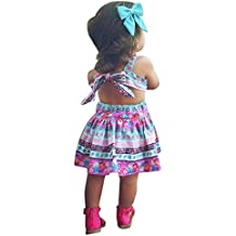 Vestido Niña, K-youth® Verano Bohemia Bowknot Chicas Retro Floral Imprimir Vestido Vestimenta Sin Mangas Vestidos para Niñas Casual Princesa Vestir