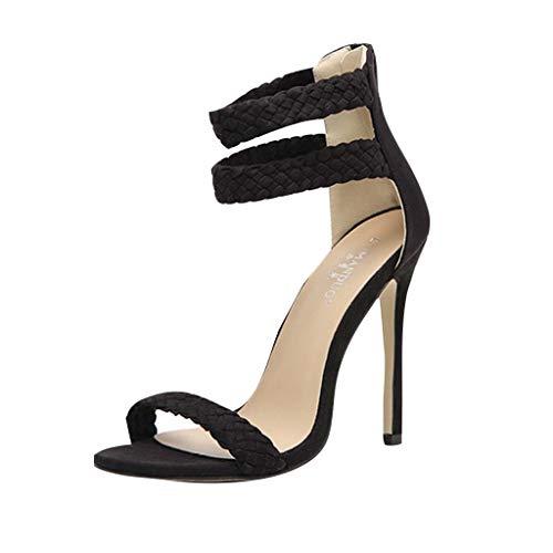 iLPM5 Frauen Klassische Elegante Stiletto Sandalen Volltonfarbe Reißverschluss Knöchelriemen Open Toe High Heel Sandalen Schuhe(Schwarz,35) -