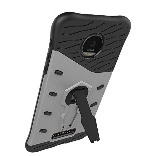 Für Moto Z & Z Droid Fall Neue Rüstung Tough Style Hybrid Dual Layer Rüstung Defender Soft TPU / PC Rückseitige Abdeckung Fall mit 360 ° Stand [Shockproof Case] ( Color : Blue ) Silver