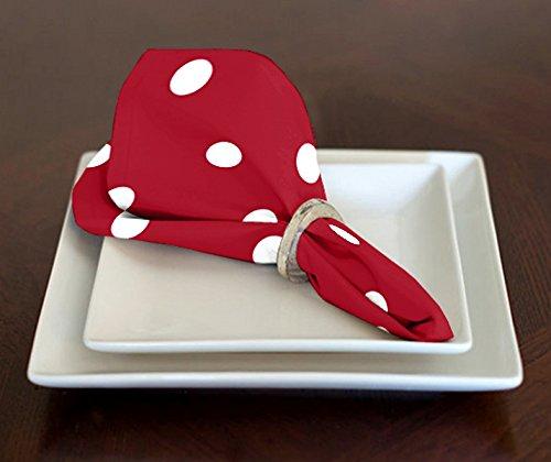 Ein luxehome Rot und weiß Modernes Polka Dot Lunch Servietten 43,2x 43,2cm Set von 4 (Baumwolle Bandana Servietten)