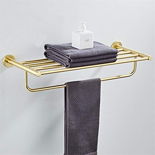 AKEYAY Badezimmer Handtuchhalter gebürstet Gold 304 Edelstahl Festbadetuchhalter Bad Regale Handtuchhalter Handtuchhalter, 60 cm