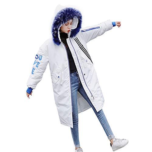 Frauen Kunstpelz mit Kapuze Starke Lange Outwear MYMYG Winterparka Jacke Lang Steppmantel Baumwolle Tasche Lange Kapuzenjacke Warmer Steppjacke (Weiß,EU:42/CN-2XL)