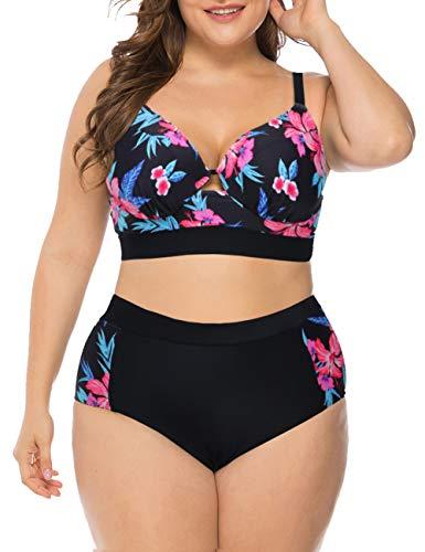 Blau Polka Dot Bikini-badeanzug (FeelinGirl Bikini Tankini Bademode Badeanzug Monokini Retro Groß Größe Bikini Sets Plus Size Bandeau High Waist Bikini Damen Bauchweg Violett XL)