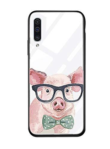 Alsoar Shell ersatz für Galaxy M20 Hülle Transparent Silikon Rahmen Handyhülle Durchsichtig Aufklappen Schutzhülle,Gehärtetem Glas Bumper Tier Süß für Samsung Galaxy M20 (Gläser Schwein) - Regenbogen-kamera-objektiv