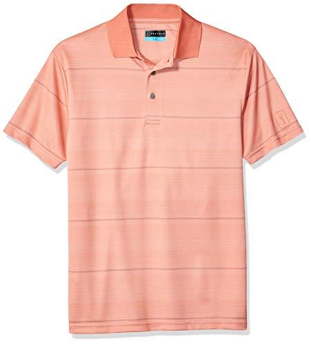 PGA TOUR Herren Short Sleeve Jacquard Polo Golf-T-Shirt, Textured Stripe Fusion Coral, XX-Large