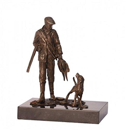 Ellas-Wohnwelt Mann mit Hund Bronze Statue Jäger mit Hund und Gewehr in der Hand auf Marmorsockel