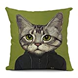 Icndpshorts European Style 18 X 18 Inch Cotton Blend Linen Cute Cats Dogs Throw Pillow Cover Cushion Case for Home Bedding Car Sofa Decoration (Green)