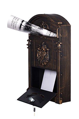 Antiker großer und sehr edler Briefkasten LB-001-Long Bronze Wandbriefkasten, Briefkasten, Nostalgischer Englischer Briefkasten Alu – Guss 47 cm hoch . Mit Befestigungsmaterial für die Wand. mit 2 Schlüsseln , Rostfrei - 2