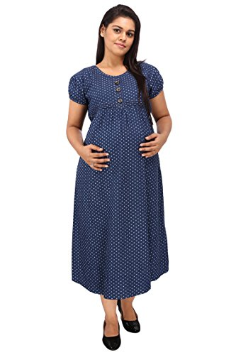 Mamma's Maternity Blue Printed Denim Maternity Dress (XX-Large)