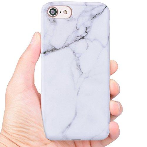 Coque iPhone 7 (4.7 pouce) , Blanc Marbre TPU Case Silicone Slim Souple Étui de Protection Flexible Soft Cover Anti Choc Ultra Mince Integrale Couverture Motif Design Bumper Caoutchouc Gel Anfire Hous Blanc