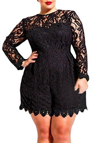 La Vogue Combinaison Maxi Femme Manche Longue Pantalon Court Dentelle Crochet Bustier Club Soirée Taille Grande Noir