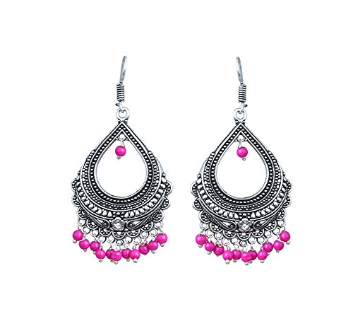 Waama Jewels Elegant Pair Of Pink Color Pearl Gold Plated Jhumka Dangle & Drop Earring For Party wear Christmas Gift New Year Gift  available at amazon for Rs.179
