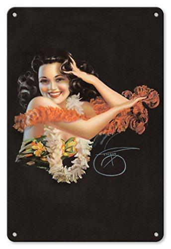 Pacifica Island Art 22cm x 30cm Vintage Metallschild - Hawaiisch Pin Up Glamour Mädchen - Von Einem Pin-Up-Kalender 1946 von Billy DeVorss c.1946 (Vintage Pin-up-kalender)