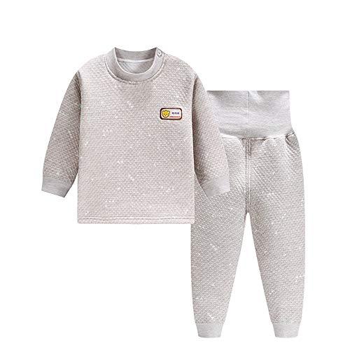 DOTBUT Kinder Zweiteiliger Schlafanzug, Junge und Mädchen Zweiteiliger Drucken Schlafanzug Langarm Pjs 100% Baumwolle 3 Schichten warm (90cm, A)