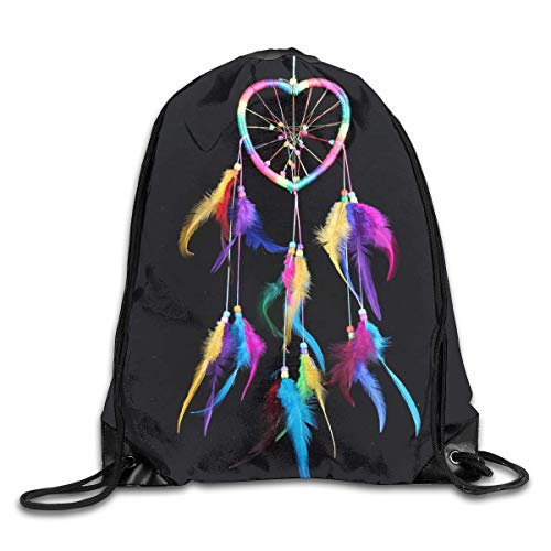 HRTSHRTE Dream Catcher Color Feather Love Patterned Themed Printed Drawstring Bundle Book School Shopping Travel Back Bags Draw String Gym Backpack Bulk Girl Boy Women Men