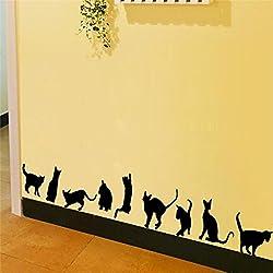 9 Lindos Gatos Jugar Pegatinas de Pared Decoración de la Habitación 3d Diy Vinilo Adesivos De Paredes Home Tatuajes de Animales Mural Art Poster