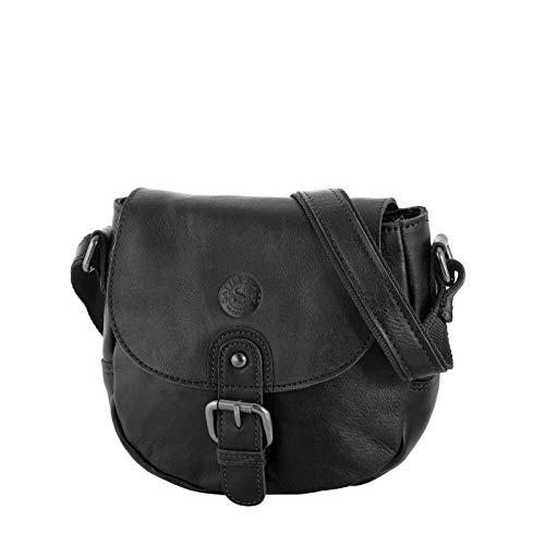Sattlers & Co. kleine Umhängetasche The Polish Abeja Leder Tasche für Damen im Vintage Look (schwarz)