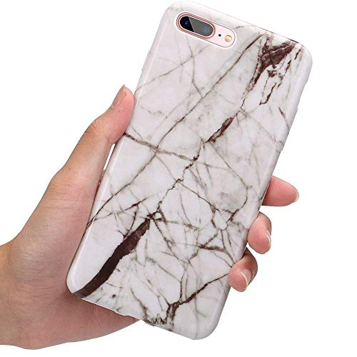 iPhone 8 Plus Fall, iPhone 7 Plus Fall, Kamii Marmor Serie Slim fit Kratzfest Weich TPU Gummi Silikon Flexibel dünn Back Schutzhülle für Apple iPhone 7 Plus/8 Plus (14 cm), weiß Series Screen Protector Kit